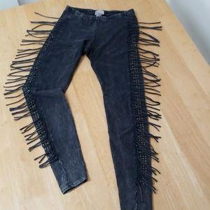 Vocal fringe and studded leggings